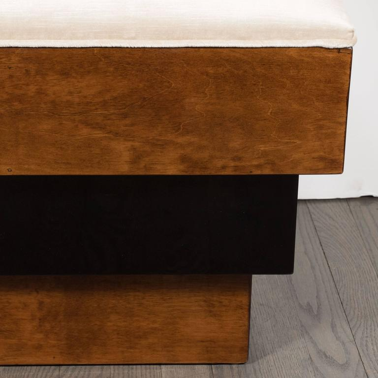 Stunning Art Deco Skyscraper Style Three-Tiered Walnut and Black Lacquer Bench 5