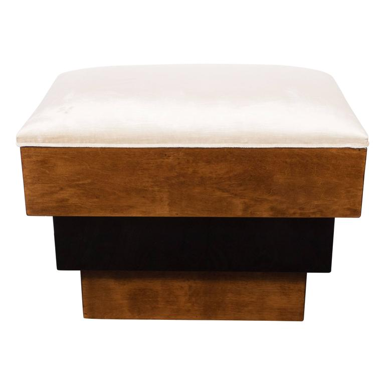 Stunning Art Deco Skyscraper Style Three-Tiered Walnut and Black Lacquer Bench 2