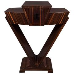 Art Deco Skyscraper Style Console Table in Book-Matched Macassar