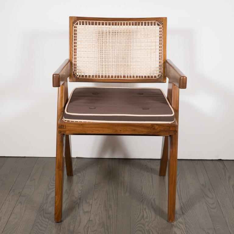 Pair of Armchairs in Teak, Caning and Upholstery by Pierre Jeanneret 2