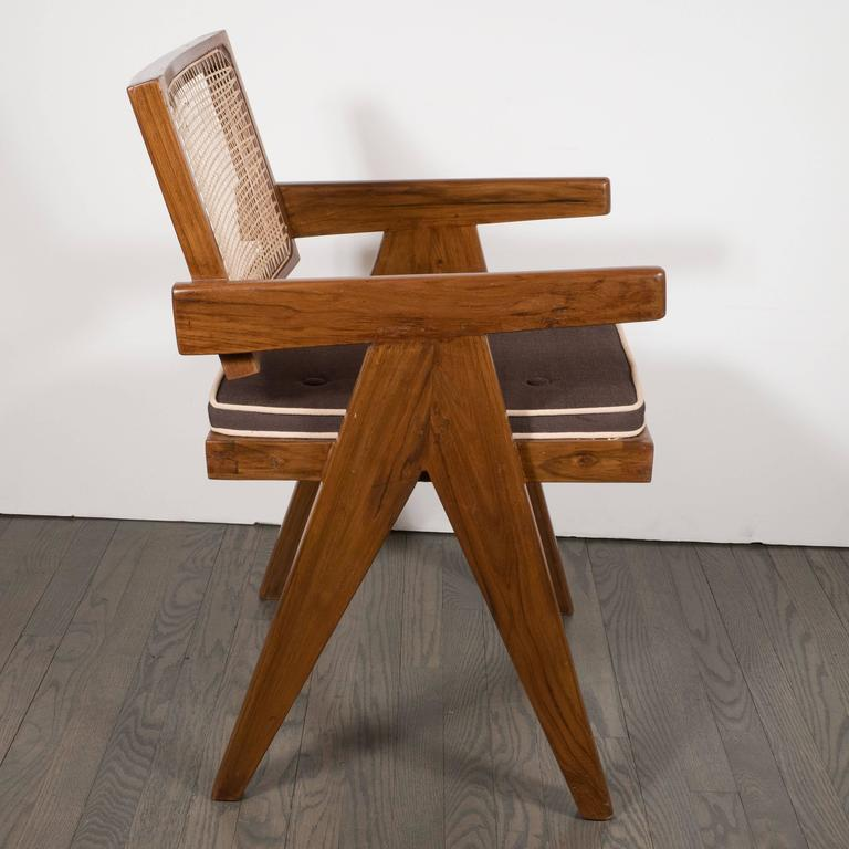 Pair of Armchairs in Teak, Caning and Upholstery by Pierre Jeanneret 3