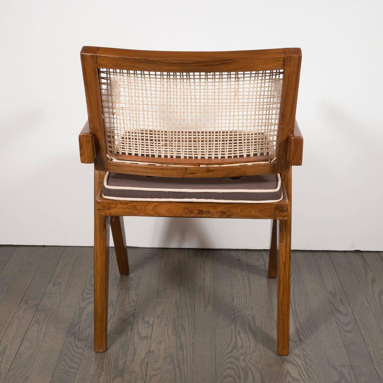 Pair of Armchairs in Teak, Caning and Upholstery by Pierre Jeanneret 4