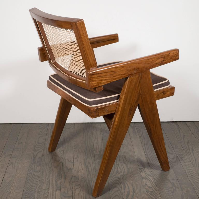Pair of Armchairs in Teak, Caning and Upholstery by Pierre Jeanneret 8