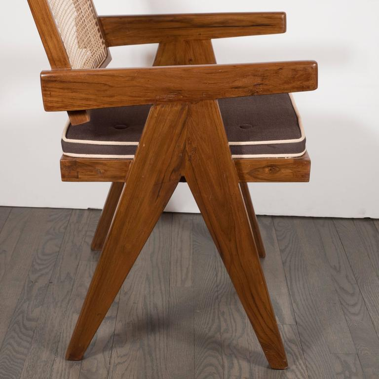 Pair of Armchairs in Teak, Caning and Upholstery by Pierre Jeanneret 7