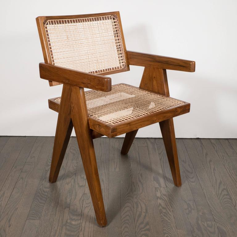 Pair of Armchairs in Teak, Caning and Upholstery by Pierre Jeanneret 9
