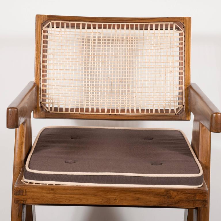 Pair of Armchairs in Teak, Caning and Upholstery by Pierre Jeanneret 6