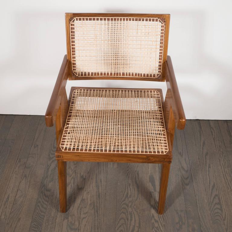Pair of Armchairs in Teak, Caning and Upholstery by Pierre Jeanneret 10