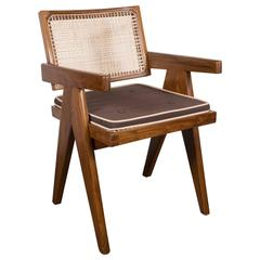 Iconic Pair of Armchairs in Teak, Caning and Upholstery by Pierre Jeanneret