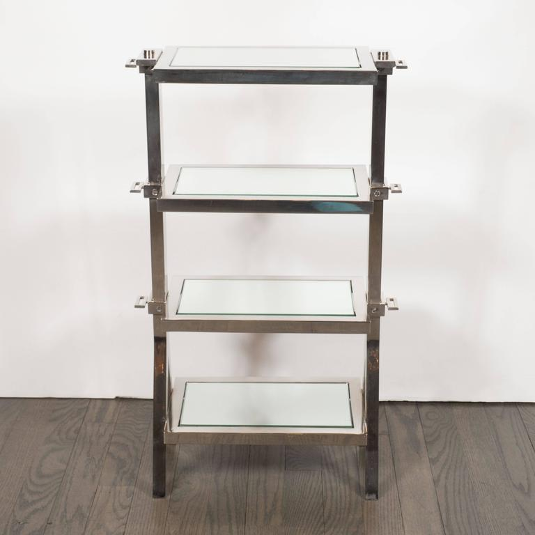 Gorgeous Art Deco Nickel and Mirror Four Tier Side / Drinks Table 2