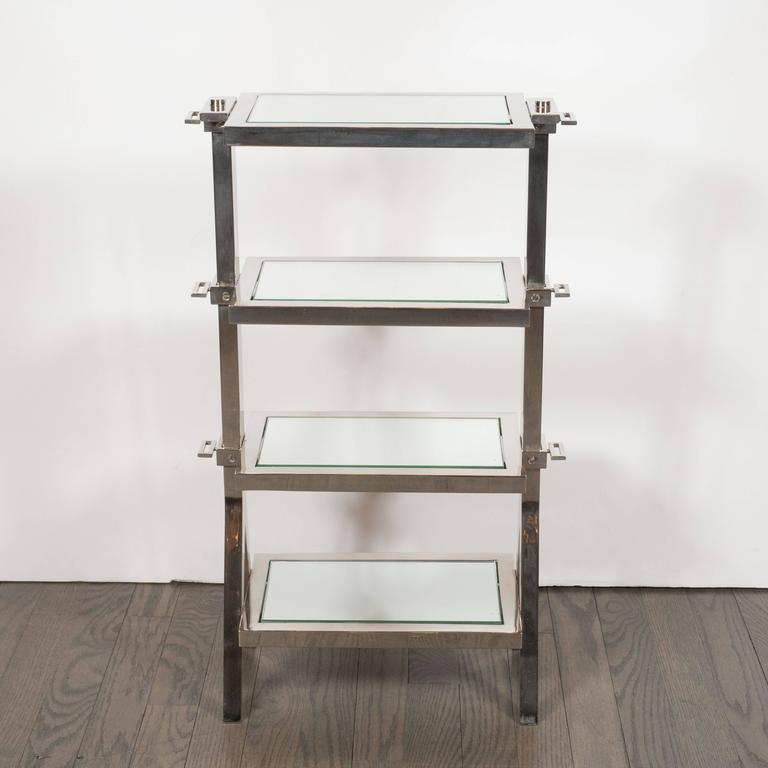 Gorgeous Art Deco Nickel and Mirror Four Tier Side / Drinks Table 3