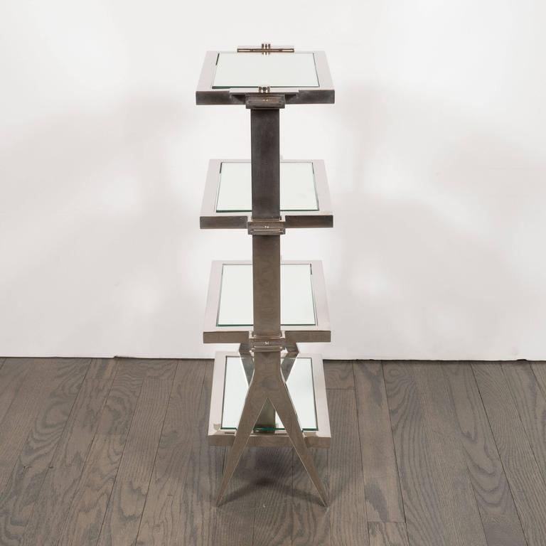 Gorgeous Art Deco Nickel and Mirror Four Tier Side / Drinks Table 4