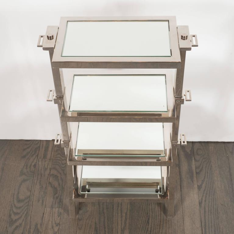 Gorgeous Art Deco Nickel and Mirror Four Tier Side / Drinks Table 6