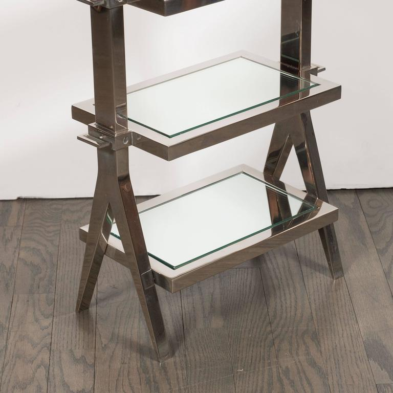 Gorgeous Art Deco Nickel and Mirror Four Tier Side / Drinks Table 9