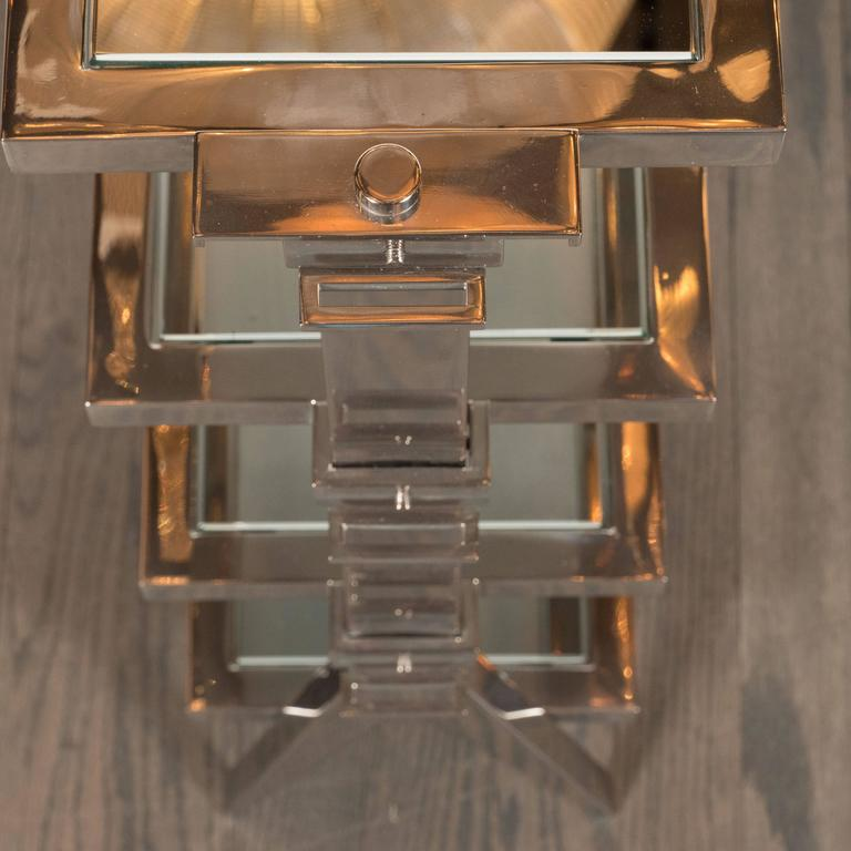 Gorgeous Art Deco Nickel and Mirror Four Tier Side / Drinks Table 10