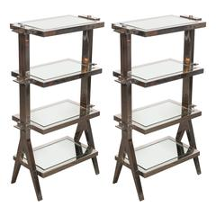 Gorgeous Pair of Art Deco Nickel and Mirror Four Tier Side / Drinks Tables