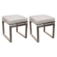 Pair of Mid-Century Modernist Chrome Stools with Textured Metallic Upholstery