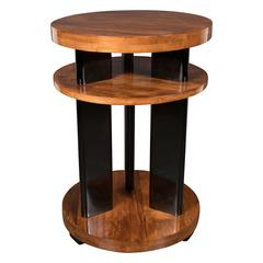 Art Deco Three-Tiered Black Lacquer and Bookmatched Walnut Occasional Table
