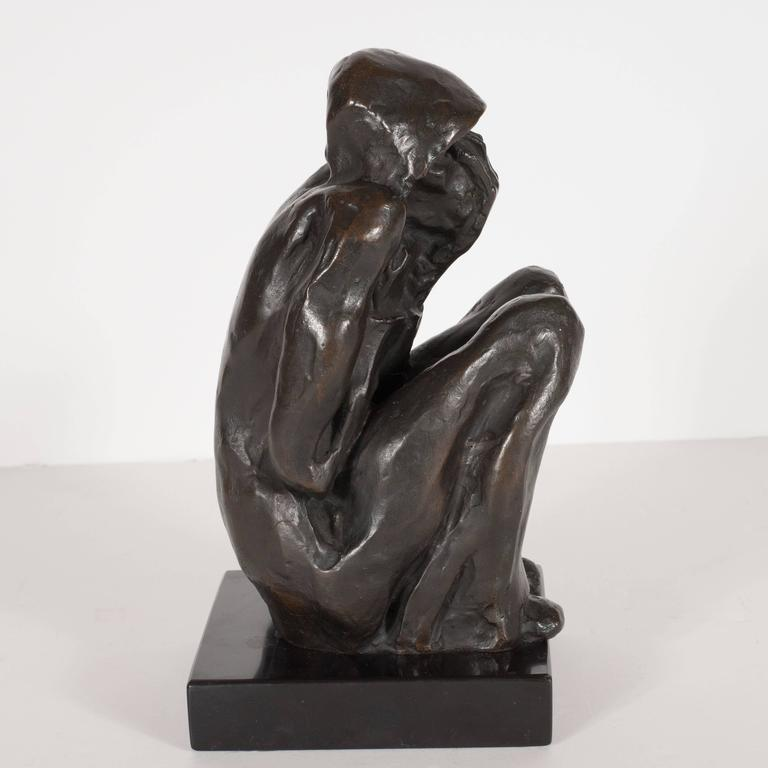 "Bronze on Marble Base ""Grief"" by Doris Porter Caeser 6"