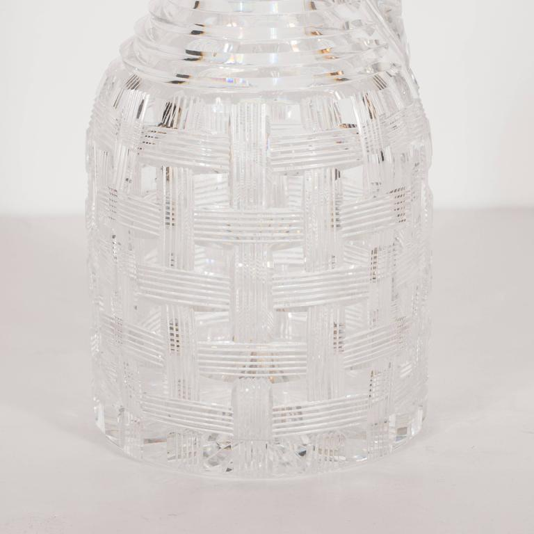 Antique American Brilliant Cut Glass Decanter with Basketweave Detailing For Sale 3
