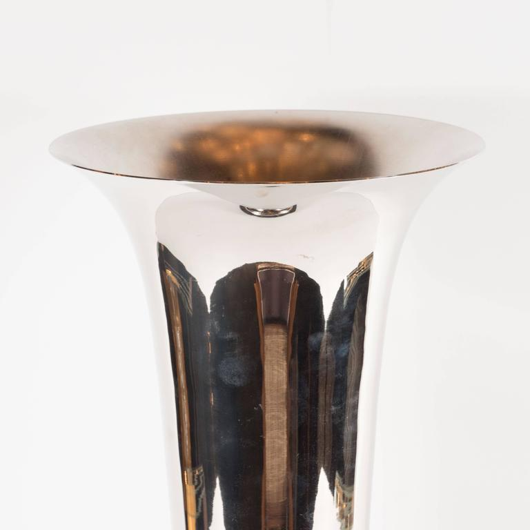 Elegant French Art Deco Marble And Chrome Uplights For Sale At 1stdibs