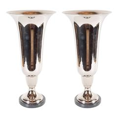 Elegant French Art Deco Marble and Chrome Uplights