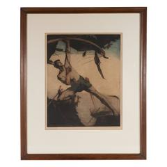 "Art Deco Allegorical Etching Entitled ""Le Combat"" by Maurice Langaskens"