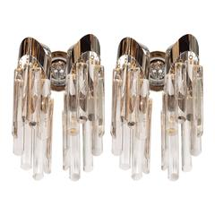 Mid-Century Modernist Chrome Sconces with Angular Crystal Pendants by Lobmeyr