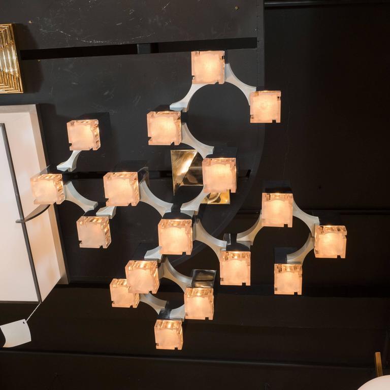 Mid-Century Cube Chandelier in Chrome and Brushed Aluminium by Gaetano Sciolari 3