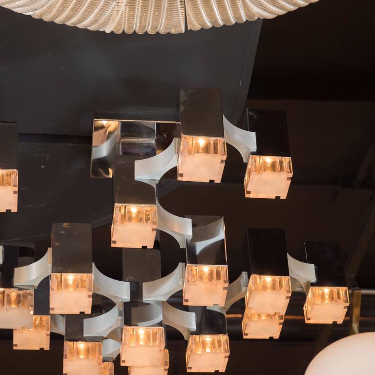 Aluminum Mid-Century Cube Chandelier in Chrome and Brushed Aluminium by Gaetano Sciolari For Sale