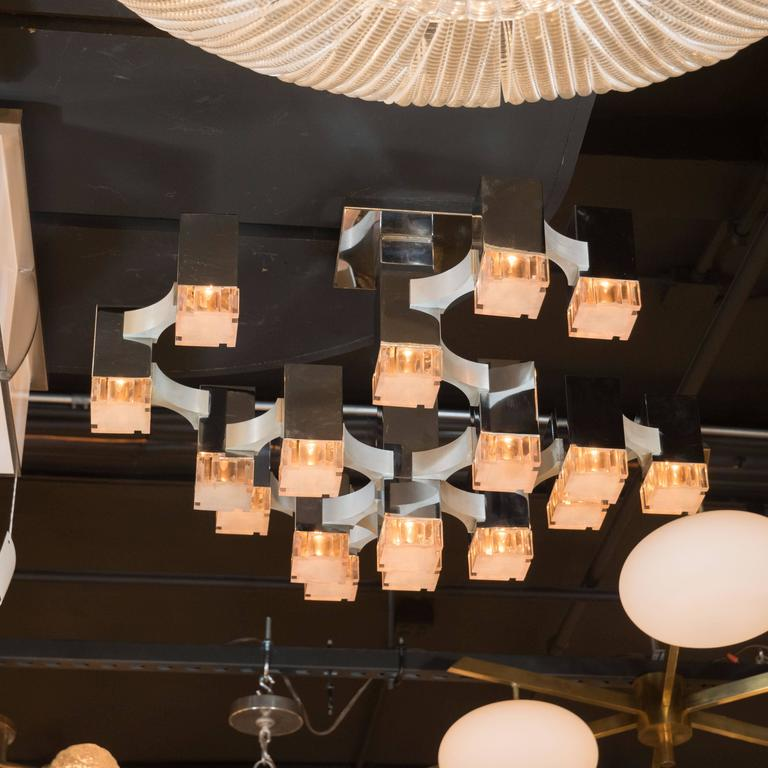 Late 20th Century Mid-Century Cube Chandelier in Chrome and Brushed Aluminium by Gaetano Sciolari For Sale