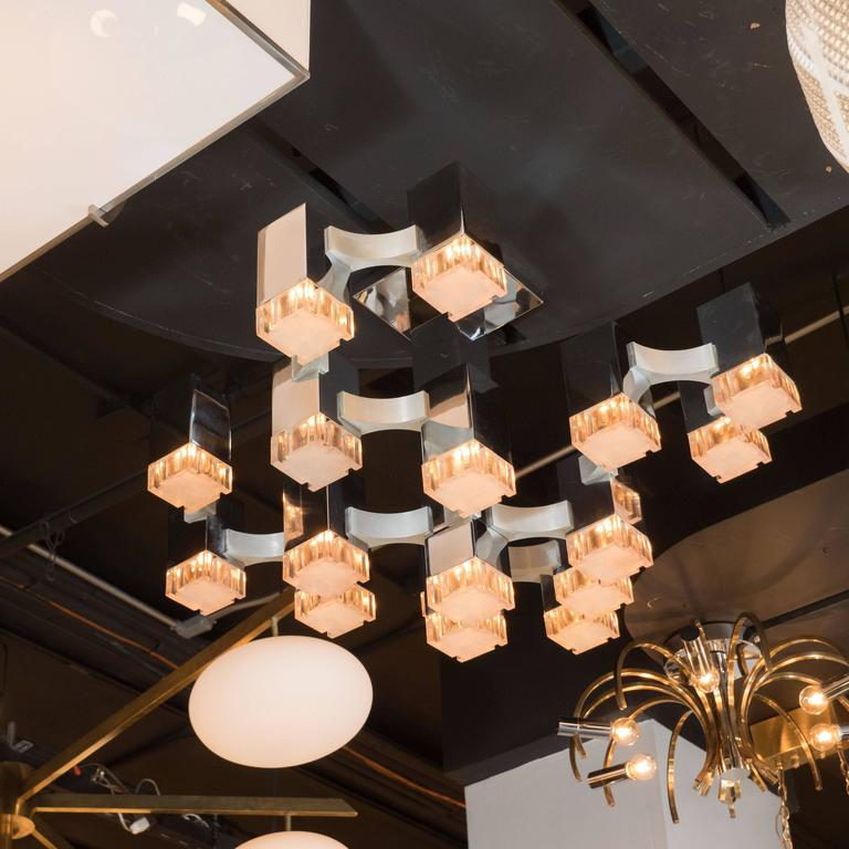 Mid-Century Cube Chandelier in Chrome and Brushed Aluminium by Gaetano Sciolari In Excellent Condition For Sale In New York, NY