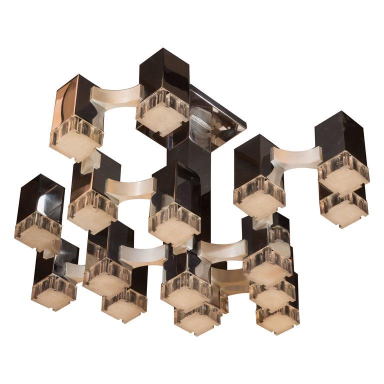 Mid-Century Cube Chandelier in Chrome and Brushed Aluminium by Gaetano Sciolari 1
