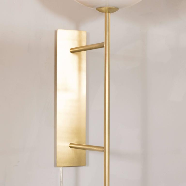Modern Pair of Monumental Reverse-Dome Trophy Sconces in Murano Milk Glass and Brass For Sale