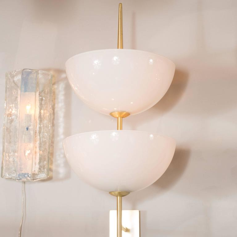 Italian Pair of Monumental Reverse-Dome Trophy Sconces in Murano Milk Glass and Brass For Sale