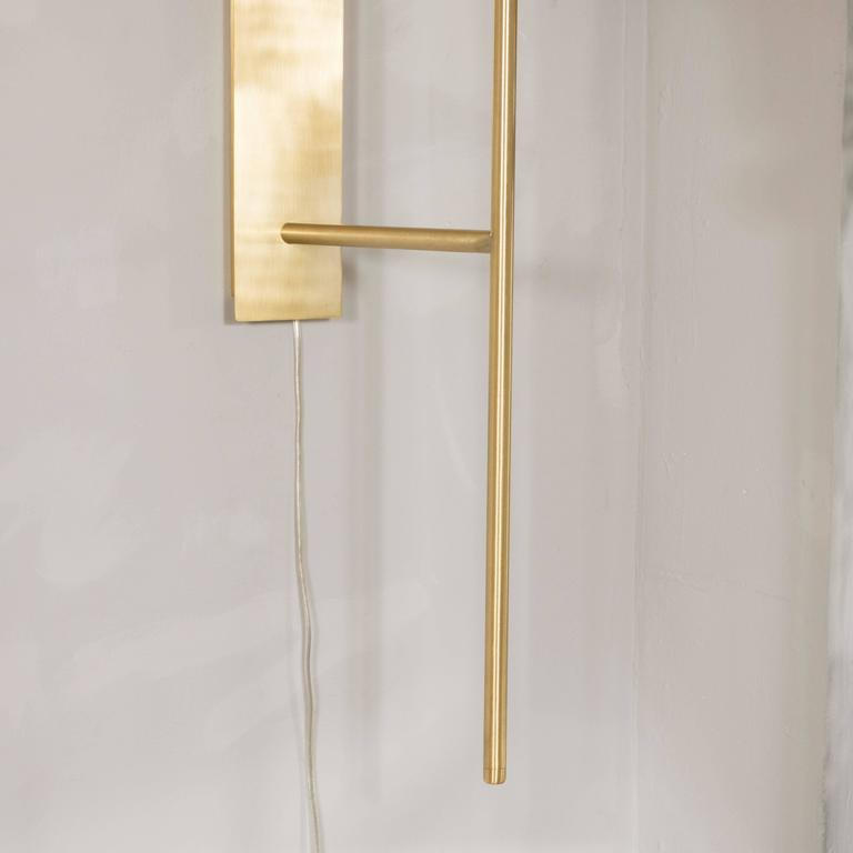 Pair of Monumental Reverse-Dome Trophy Sconces in Murano Milk Glass and Brass For Sale 2