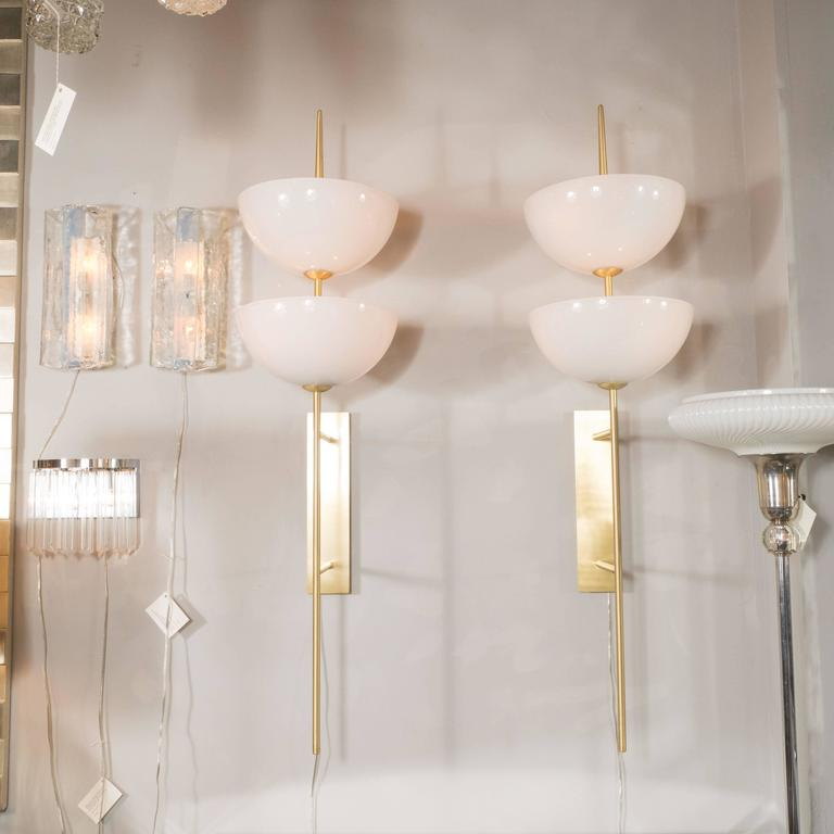 Contemporary Pair of Monumental Reverse-Dome Trophy Sconces in Murano Milk Glass and Brass For Sale