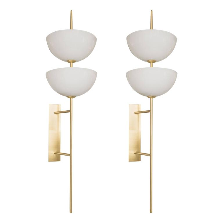 Pair of Monumental Reverse-Dome Trophy Sconces in Murano Milk Glass and Brass For Sale