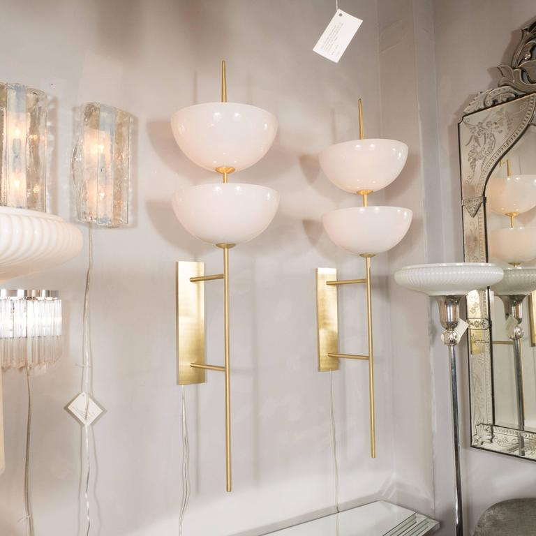 Pair of Monumental Reverse-Dome Trophy Sconces in Murano Milk Glass and Brass For Sale 1