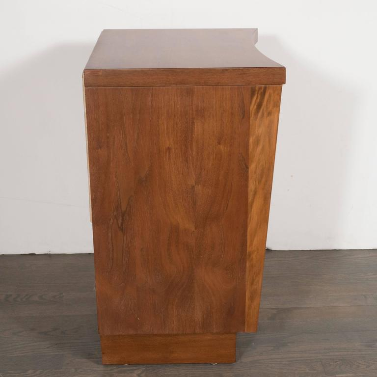 American Mid-Century Modernist Bowed Front Nightstands in Rubbed Walnut with Brass Pulls For Sale
