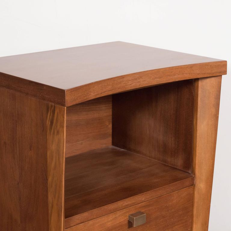 Mid-20th Century Mid-Century Modernist Bowed Front Nightstands in Rubbed Walnut with Brass Pulls For Sale