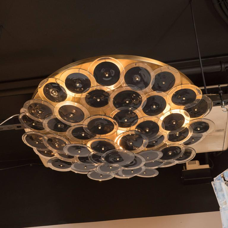 Flush Mount Murano Disc Chandelier in Black and Clear Glass and Brushed Brass 3
