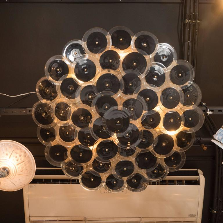 Flush Mount Murano Disc Chandelier in Black and Clear Glass and Brushed Brass 8