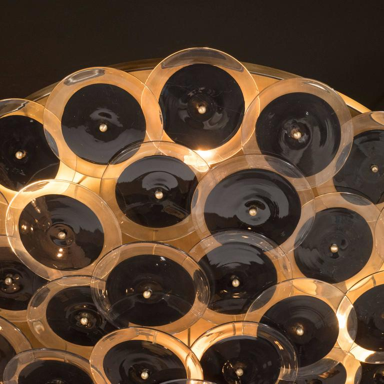 Flush Mount Murano Disc Chandelier in Black and Clear Glass and Brushed Brass 4