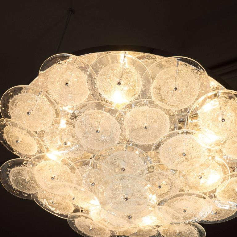 Flush Mount Murano Disk Chandelier in Clear Glass and Chrome Frame 2
