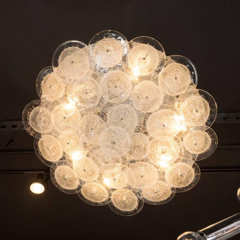 Flush Mount Murano Disk Chandelier in Clear Glass and Chrome Frame 6