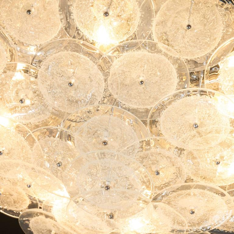 Flush Mount Murano Disk Chandelier in Clear Glass and Chrome Frame 7
