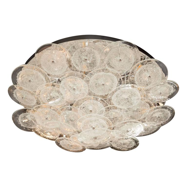 Flush Mount Murano Disk Chandelier in Clear Glass and Chrome Frame 1