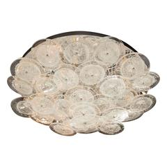 Flush Mount Murano Disc Chandelier in Clear Glass and Chrome Frame