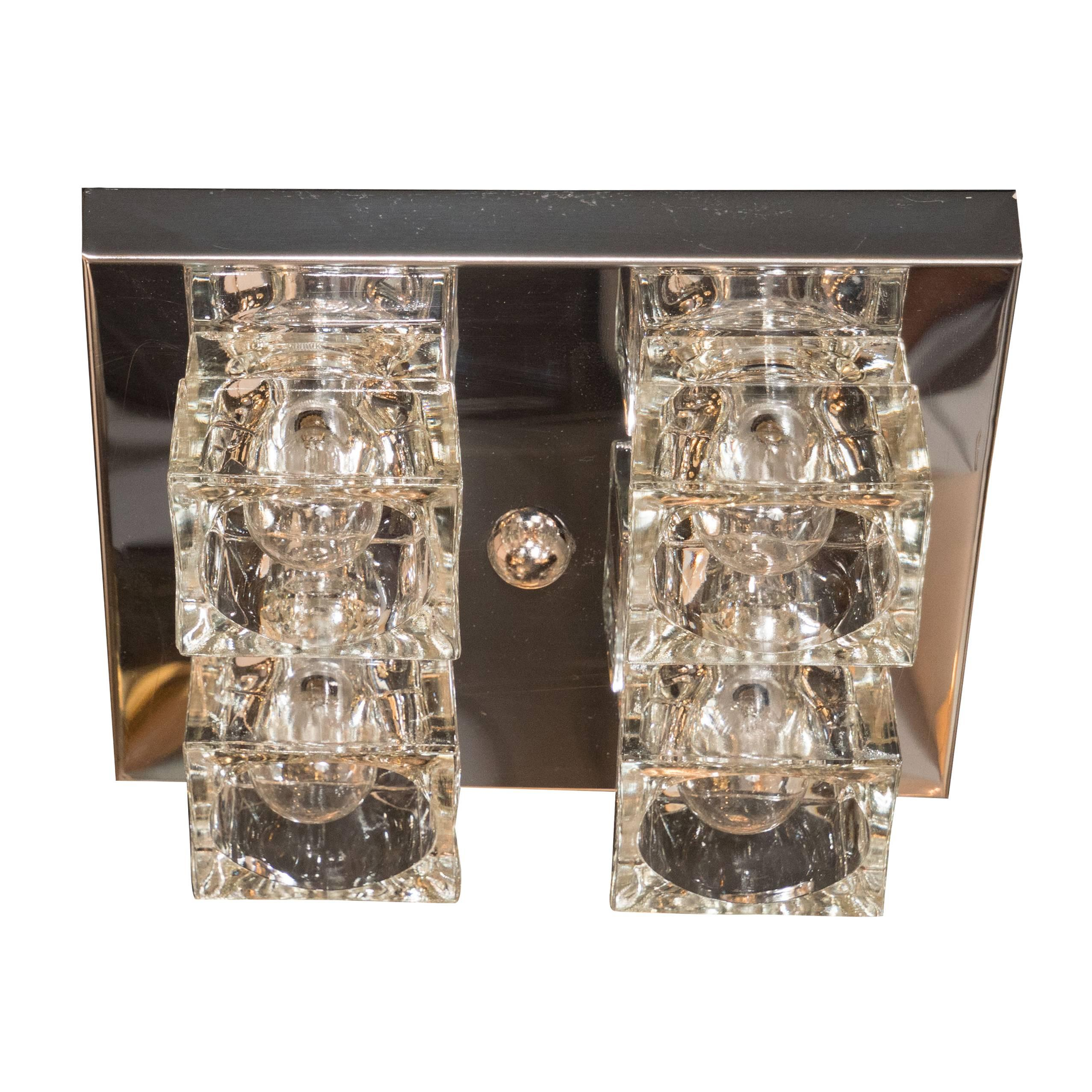 Mid-Century Modernist Glass Cube Flush Mount Chandelier by Sciolari in Chrome