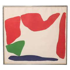 Modernist Abstract Composition Lithograph by Ray Parker, circa 1960